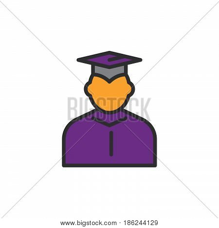 Student in mantle and graduation cap filled outline icon line vector sign linear colorful pictogram. Symbol logo illustration. Pixel perfect