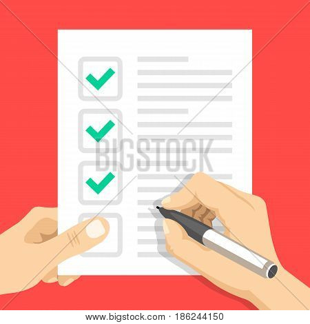Hand holding checklist and hand holding pen. Sheet of paper with check marks, tick icons. Filling form, to-do list, exam, claim, application, task list concepts. Flat design vector illustration