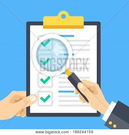 Hand holding checklist clipboard and hand holding magnifying glass. Clipboard with check marks, tick icons. Analysis, review, examination, checkup, inspection concepts. Flat design vector illustration