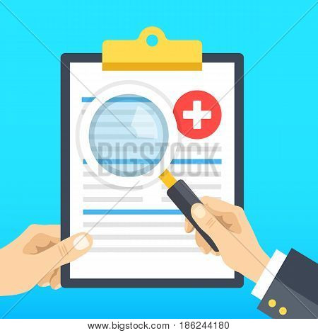 Hand holding medical clipboard and hand holding magnifying glass. Clipboard with medical records. Patient case study, analysis, clinical data, diagnostics concepts. Flat design vector illustration