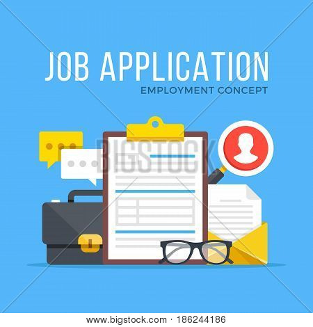 Job application. Employment, human resources, job offer, recruitment, hiring concepts. Modern flat design graphic set for web banners, websites, etc. Vector illustration isolated on blue background