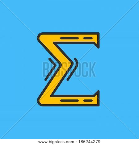 Greek letter sigma filled outline icon line vector sign linear colorful pictogram. Symbol logo illustration. Pixel perfect