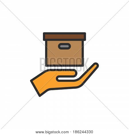 Hand holding parcel filled outline icon line vector sign linear colorful pictogram. Delivery service symbol logo illustration. Pixel perfect