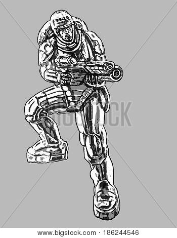 Soldier in armor suit with large rifle. Science fiction illustration. Vector illustration.