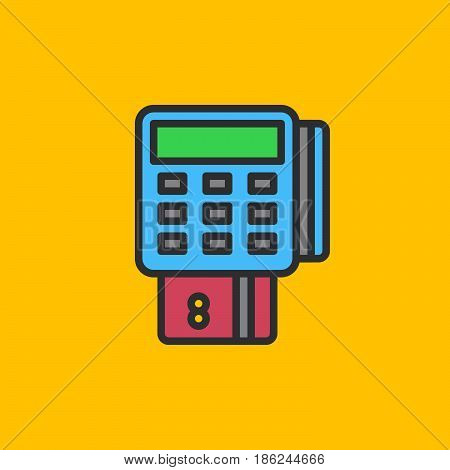 Pos terminal filled outline icon line vector sign linear colorful pictogram. Symbol logo illustration. Pixel perfect