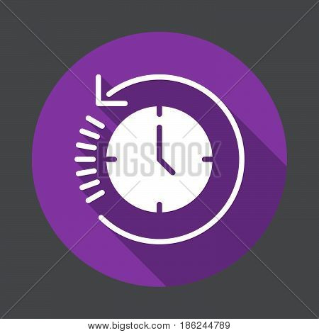 Clock with arrow around History flat icon. Round colorful button circular vector sign with long shadow effect. Flat style design