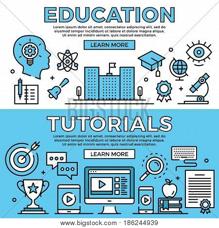 Education, tutorials concepts. Flat design line banners set. Modern graphic elements, thin line icons for web banners, web sites, infographics, printed materials. Premium quality. Vector illustration
