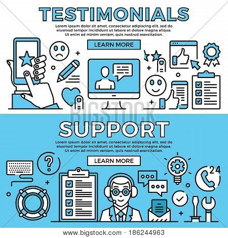 Testimonials, support concepts. Flat design line banners set. Modern graphic elements, thin line icons for web banners, web sites, infographics, printed materials. Premium quality. Vector illustration