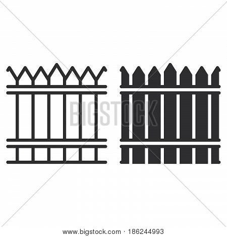 Fence wood wall line and solid icon outline and filled vector sign linear and full pictogram isolated on white. Symbol logo illustration