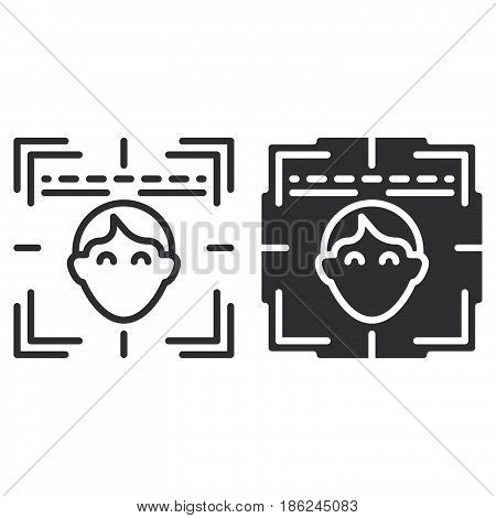 Face recognition system line and solid icon outline and filled vector sign linear and full pictogram isolated on white. Symbol logo illustration