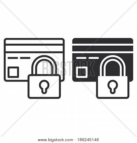 Credit card with lock line and solid icon outline and filled vector sign linear and full pictogram isolated on white. Payment protection symbol logo illustration