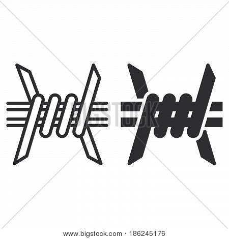 Barbed Wire line and solid icon outline and filled vector sign linear and full pictogram isolated on white. Symbol logo illustration