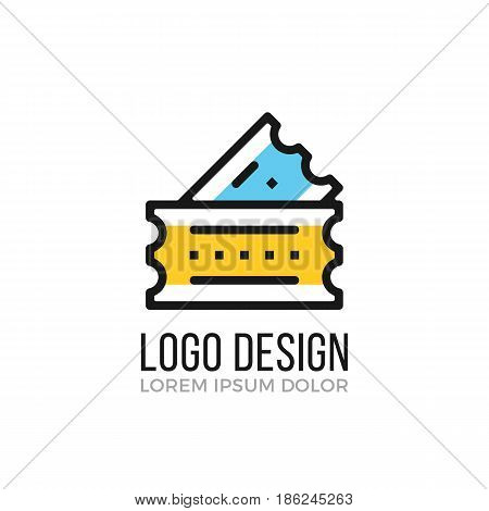 Cinema logo design concept. Two cinema tickets icon. Vector logo isolated on white background