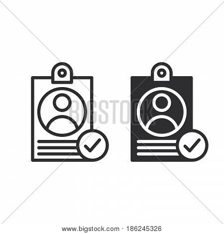 Personal badge with check mark line and solid icon outline and filled vector sign linear and full pictogram isolated on white. User id verified symbol logo illustration