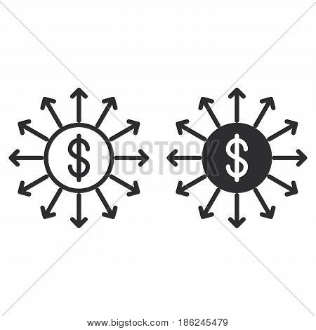Capital outflow line and solid icon outline and filled vector sign linear and full pictogram isolated on white. Symbol logo illustration
