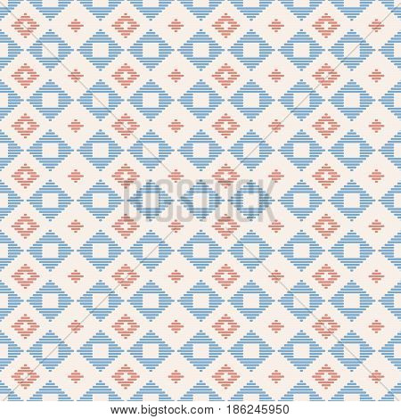Geometric seamless pattern. Japanese Kogin embroidery. Traditional ornament  Abstract illustration. Simple asian ornament for stitching.