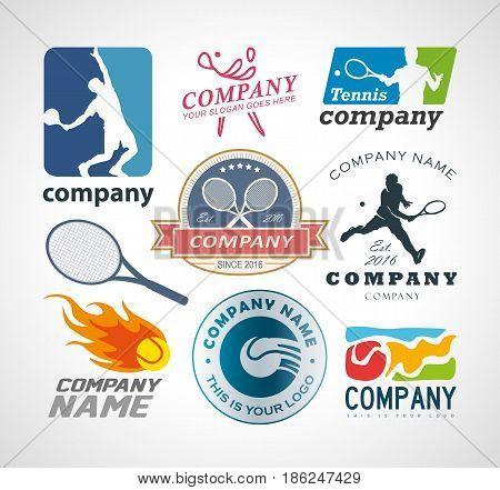 Vector set tennis logo design elements. EPS 10, AI 10