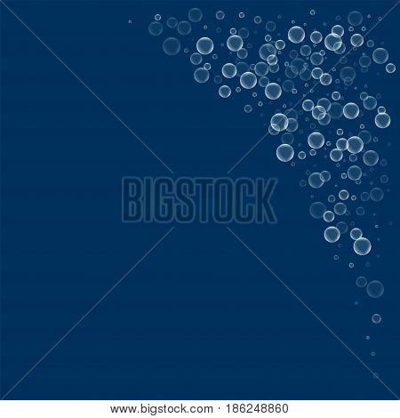 Soap Bubbles. Top Right Corner With Soap Bubbles On Deep Blue Background. Vector Illustration.