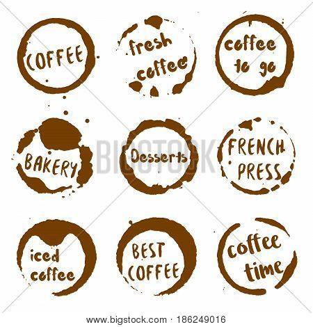 Coffee Shop Collection Of Round Watercolor Stains With Coffee, Fresh, To Go, Bakery, Desserts, Frenc