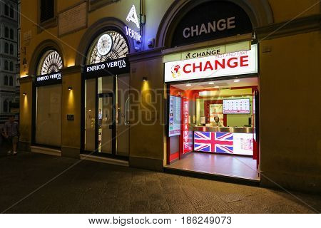 Milan Italy - September 11 2016: Point of currency exchange in the city center in Milan that is open for clients 24 hours per day