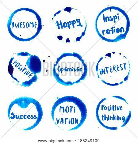 Positive Thinking Collection Of Round Watercolor Stains With Awesome, Happy, Inspiration, Positive,