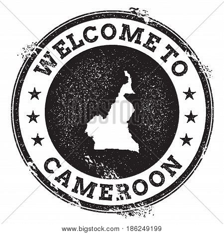 Vintage Passport Welcome Stamp With Cameroon Map. Grunge Rubber Stamp With Welcome To Cameroon Text,