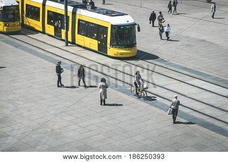 Tramway /tram Train /streetcar And People In Berlin