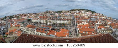 Panoramic view to the old downtown city of Lisbon, Portugal