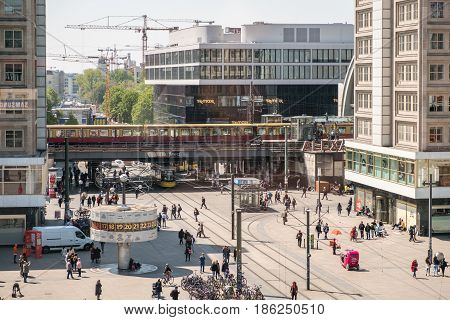 Street Life At Alexanderplatz In Berlin City Center