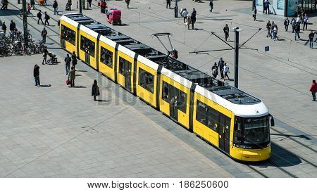 Tramway / Tram Train / Streetcar And People Aerial