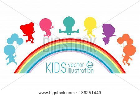 colorful happy kids jumping on a rainbow,Group of children jumping on rainbows background, vector  illustration.