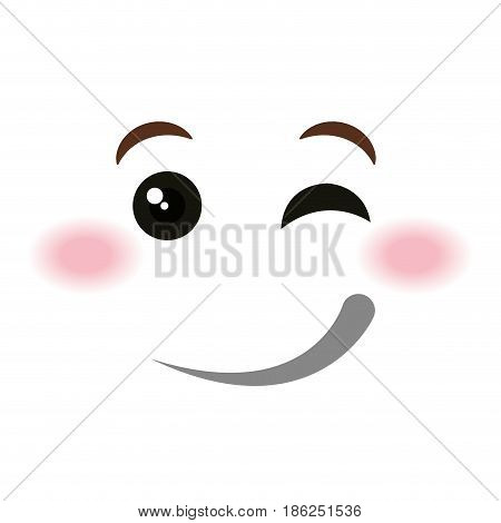 flirtatious face emoticon kawaii style vector illustration design