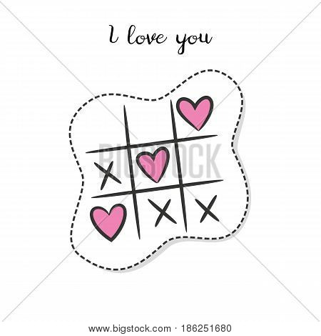 Cartoon sticker with tic tac toe on white background. Vector illustration.
