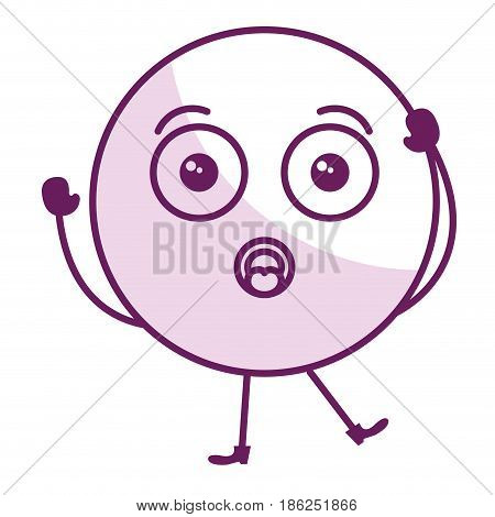 worried face emoticon kawaii character vector illustration design