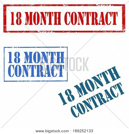 Set of stamps with text 18 Month Contract,vector illustration