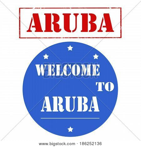 Set of stamps with text Welcome To Aruba,vector illustration
