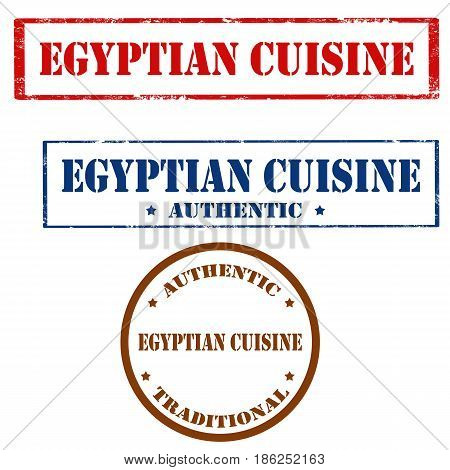 Set of stamps with text Egyptian Cuisine,vector illustration