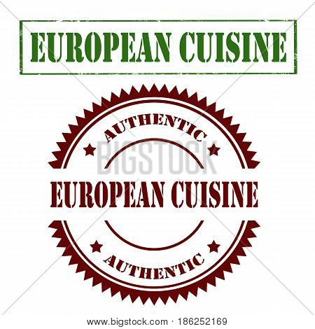 Set of stamp with text European Cuisine,vector illustration