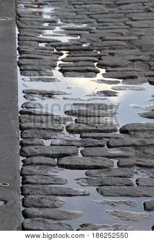 A reflective cobblestone puddle on River Street along the famous Riverwalk in Savannah Georgia