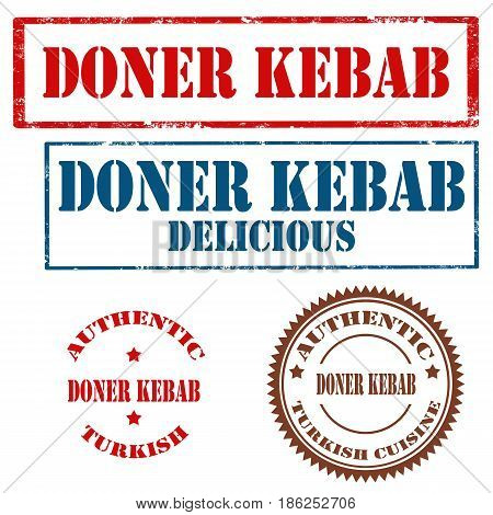 Set of stamps with text  Doner Kebab,  vector illustration