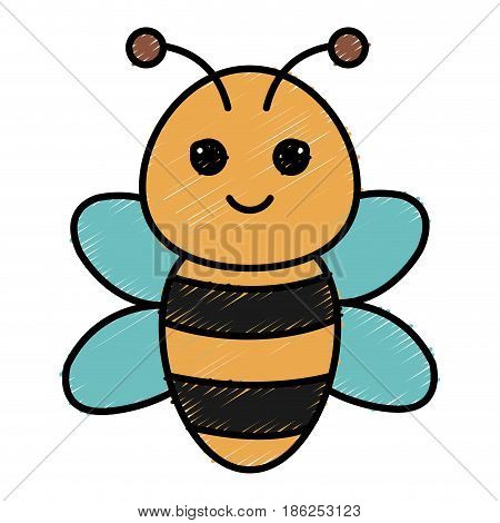 cute and tender bee kawaii style vector illustration design