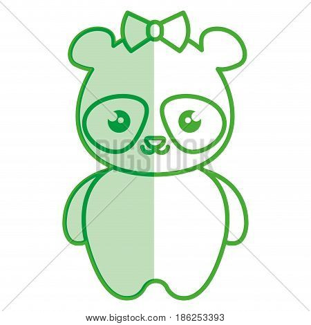 cute and tender female bear panda kawaii style vector illustration design