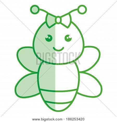 cute and tender female bee kawaii style vector illustration design