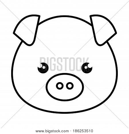 cute and tender piggy kawaii style vector illustration design