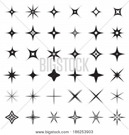 Sparkle stars icons. Symbols of sparkle, glint. gleam, etc. Vector illustration