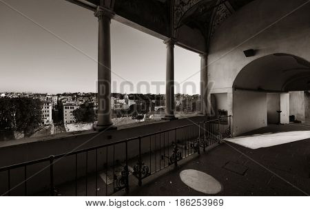 Rome city skyline viewed from Castel Sant Angelo. Italy.