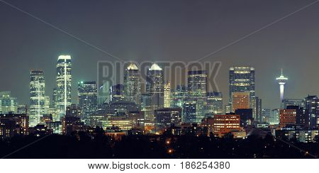 Calgary skyline in Alberta at night, Canada.