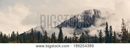 Banff national park view panorama with foggy mountains and forest in Canada.