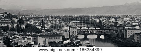 Florence skyline panorama viewed from Piazzale Michelangelo in BW