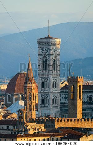 Florence Cathedral and bell tower with city skyline viewed from Piazzale Michelangelo